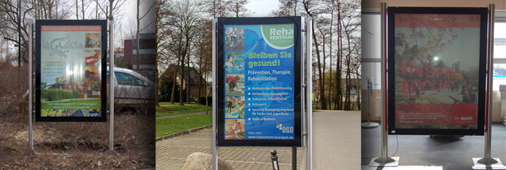 Citylight Plakatwechsler, Scrolling Display, Wechselvitriene